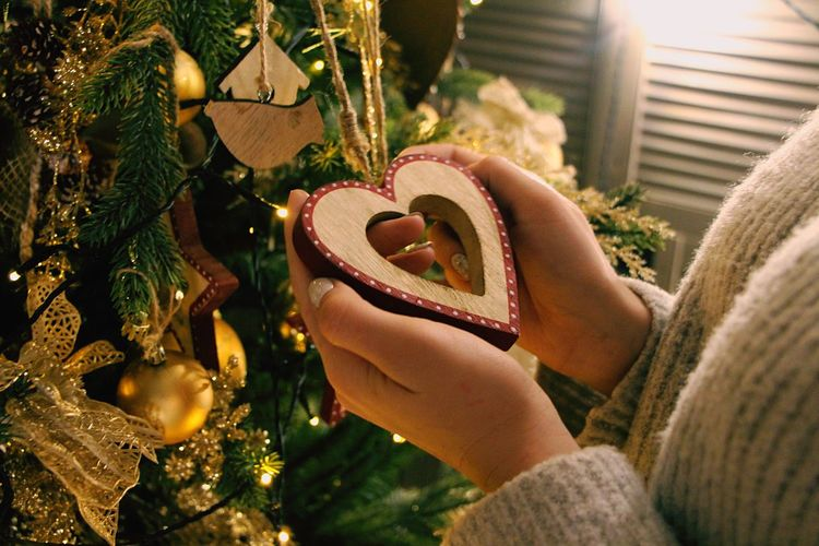 M-Xmas time... In Hands Heart Shape One Person Christmas Day Tree