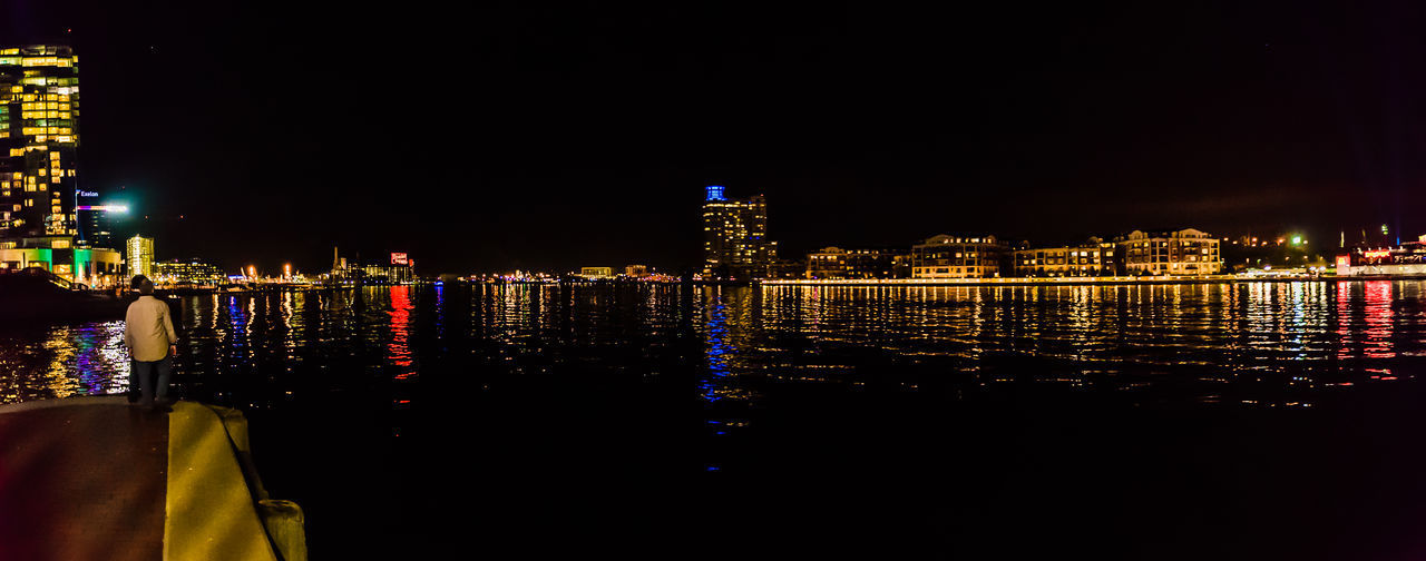 Architecture Baltimore Baltimore Harbor Baltimore Maryland Breathtaking City Irix 15mm Man Maryland Nikon Panorama Panoramic Reflection View Cufotos Exterior Building Light City Multi Colored Night Panoramic Photography Person River Sky Urban Wide Angle
