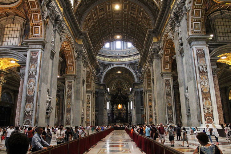 St. Peters Basilica Altar Arch Architectural Column Architecture Belief Building Built Structure Ceiling Crowd Group Of People Illuminated Indoors  Large Group Of People Place Of Worship Real People Religion Spirituality