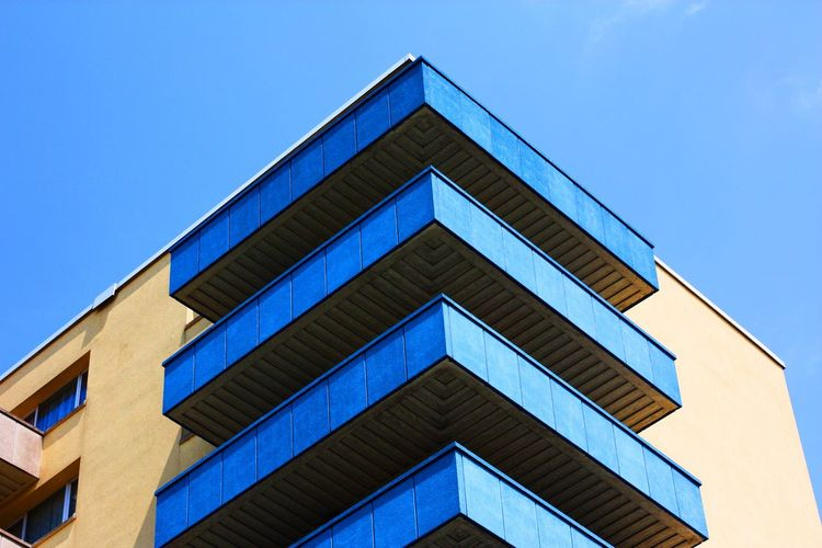 Architecture Built Structure Building Exterior Low Angle View Blue No People Outdoors Day City Triangle Shape Luchtbal Antwerp Antwerp, Belgium Appartment Block