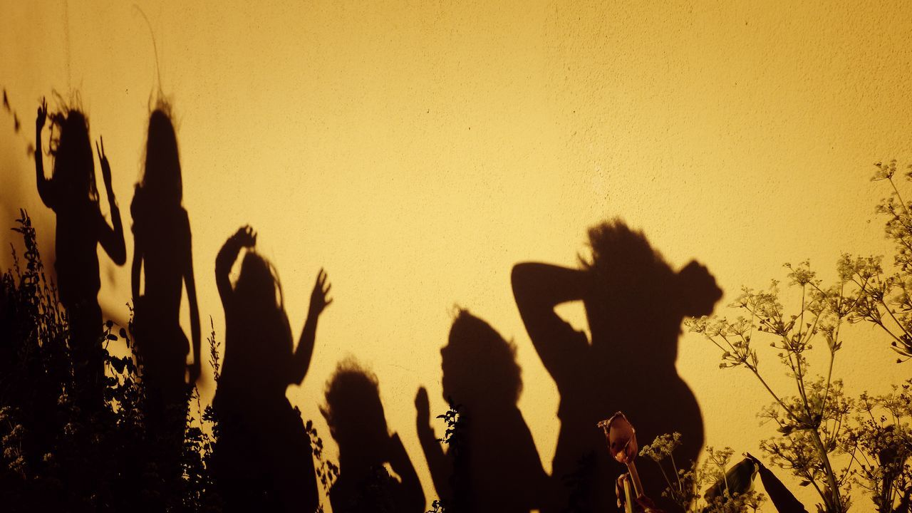 Shadow of children playing on wall during sunset