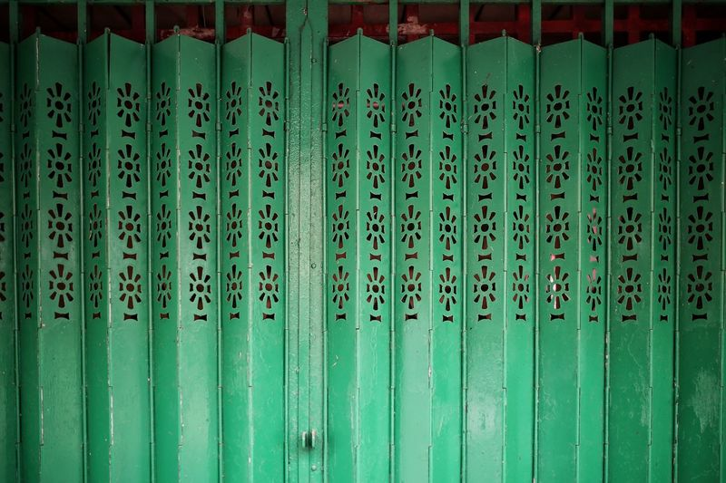 Full Frame Shot Of Metallic Green Shutter