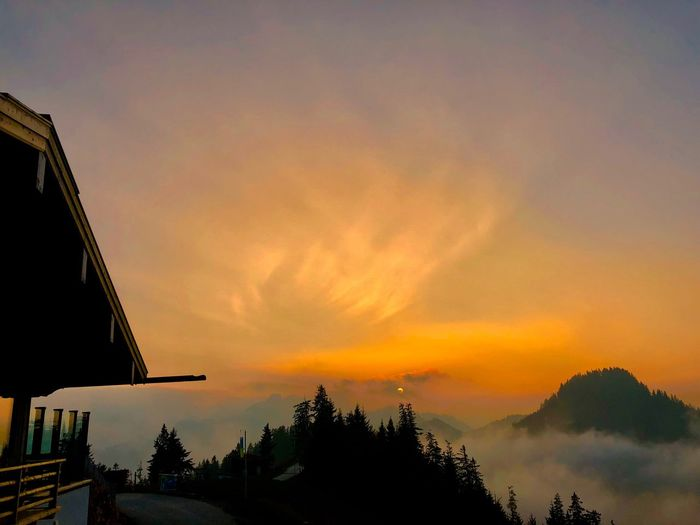 Berge Ruhpolding Mountain Unternberg Hütte Sunset Sky Cloud - Sky Silhouette Beauty In Nature Orange Color Scenics - Nature Built Structure Tranquility Idyllic Tranquil Scene Outdoors Building Exterior Nature Tree Water Architecture Building No People Plant
