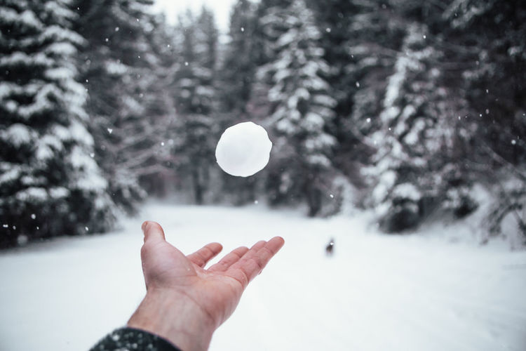 Cropped image of hand catching snow