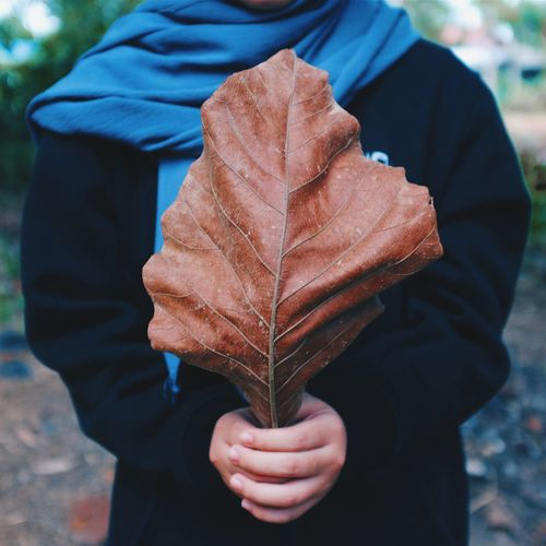 Midsection of man holding autumn leaf