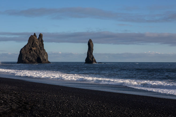 Iceland Wave Beach Beauty In Nature Black Black Sand Cloud - Sky Horizon Horizon Over Water Idyllic Land Nature No People Ocean Outdoors Rock Rock - Object Rock Formation Sandy Beach Scenics - Nature Sea Sky Stack Rock Tranquil Scene Water My Best Travel Photo