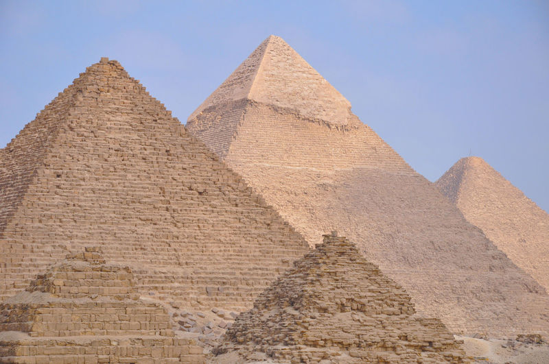 Low angle view of pyramids against sky
