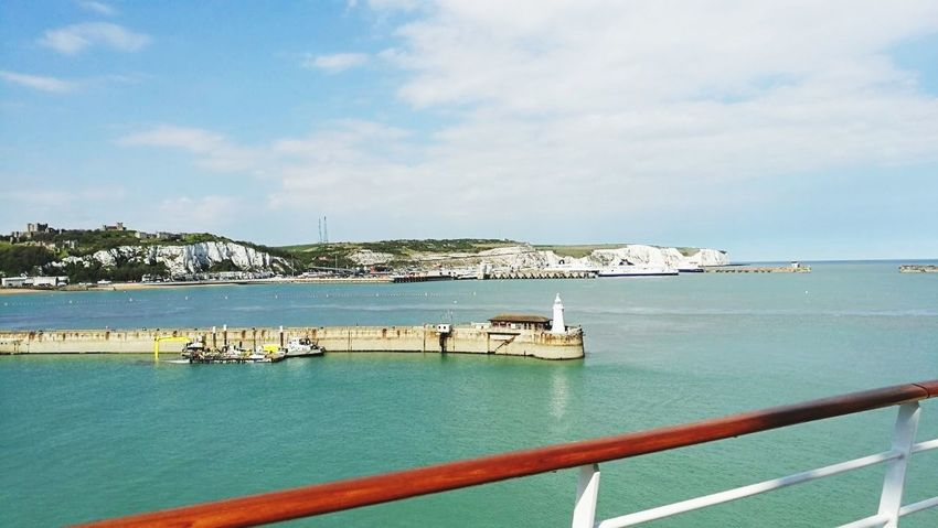 Dover White Cliffs Of Dover Cliffs England GB Vacations Pier Beach Water Outdoors Tourist Resort Tourism Sky Horizon Over Water Travel Day Summer Nature