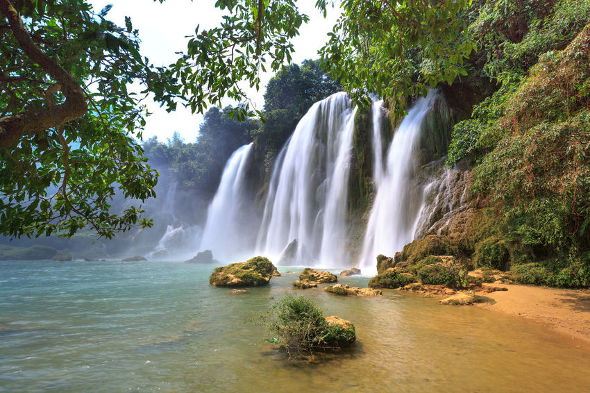 Image of Ban Gioc waterfall flows down in Cao Bang province, Vietnam Ban Gioc Waterfall Flowing Freshness Horizontal Rural Tourist Travel Awe Awesome Beauty In Nature Environment Forest Lush Mountain Nature Outdoors Park Scenics Stream Tourism Tropical Tropical Climate Vacation Water Waterfall
