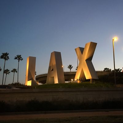 LAX Signage Airport Evening Sky Palm Trees
