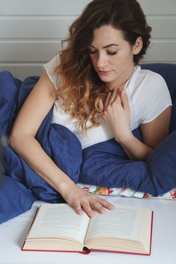 Reading Reading A Book Reading In Bed Hardcover Book Woman Girl Bed Bedroom Book Leisure Activity Relaxing EyeEm Selects Only Women Adults Only Adult One Woman Only One Person Looking Down People Real People Women