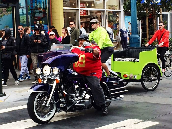 Transportation 🇺🇸 City Street California Street Photography San Francisco City Life City Motorcycle Arts Culture And Entertainment Sitting Day Outdoors Adult People Adults Only Men Real People Biker California Dreamin