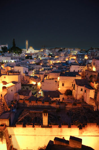 Architecture Building Exterior Built Structure City Cityscape Illuminated Matera Night No People Outdoors Sky Town Travel Destinations