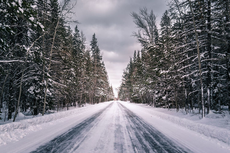 The Road to the Sun, in Glacier National Park, Montana. Beauty In Nature Cold Temperature Day Landscape Nature No People Outdoors Road Scenics Sky Snow Snowing The Way Forward Tree Winter