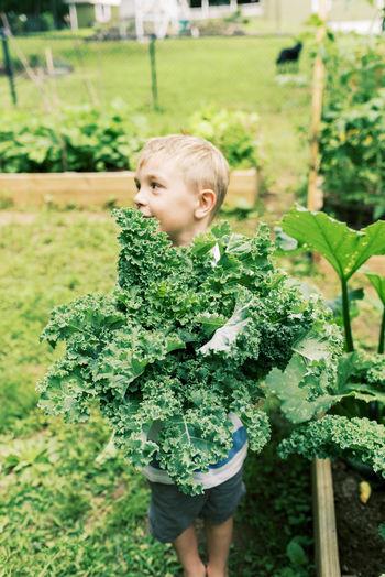 Boy standing on plant