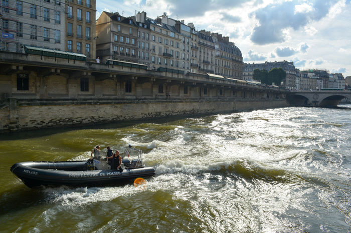 Architecture Boat Building Cloud Cloud - Sky Laseine Nature Paris River Seine River Sky Travel Destinations Water Waterfront Security Police Patrol Police Boat