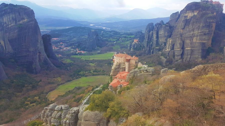 The Meteora Monasteries, Kalampaka, Greece GREECE ♥♥ Kalamata,Greece Architecture Beauty In Nature Cliff Day Greece Kalampáka Landscape Mountain Mountain Range Nature No People Outdoors Physical Geography Rock - Object Scenics Sky Tranquil Scene Tranquility Tree