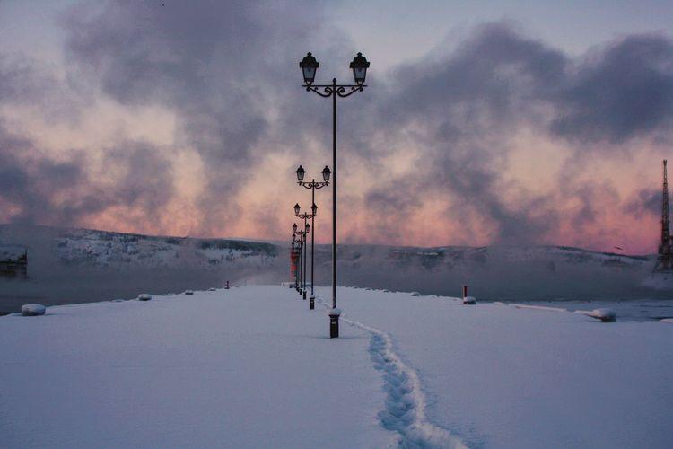 January. Winter Cold Seaport Russia Murmansk Minimalism Snow January