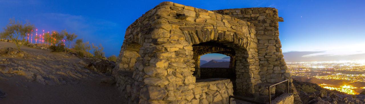 Arizona Blue Hour Cityscape Desert Night Night Lights Phoenix Radio Tower Rock House Ruin Ultrawide