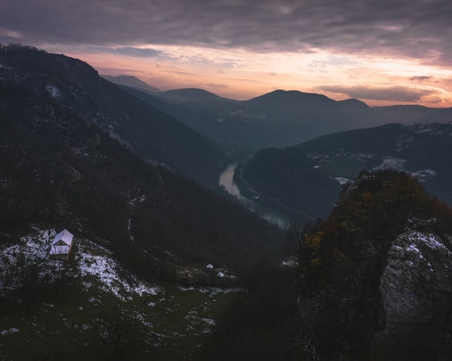 View from Rock Bridge Amazing View Nature Nature On Your Doorstep River Bosnia Banjaluka Hills House Snow Orange Sky Clouds Forest Tree Mountain Sunset Forest Sky Landscape Hiker Cold Temperature Weather Condition Cold