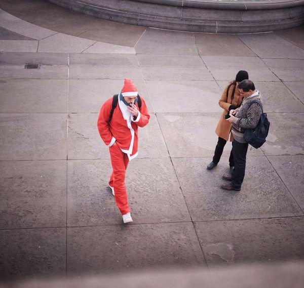 People Real People Streetphoto Candid Photography Street Photography Streetphotography Street Photo City Life Winter City Red Santa Tourism Tourist Attraction  Santa Costume Father Christmas Christmas In London