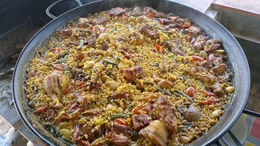 Paella De Castellon De La Plana High Angle View Close-up Food And Drink