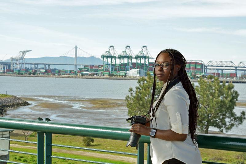 WomeninBusiness woman photograper 3 On Assignment In The Field Middle Harbor Port Of Oakland, Ca. Graphic Designer Showcase: February Bay Bridge port cranes Scenic
