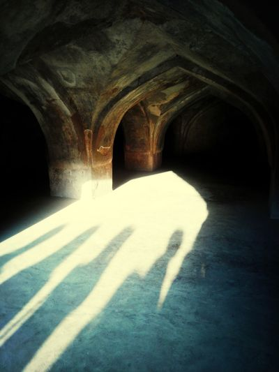This photo is from Jahaz Mahal in Mandu, Madhya Pradesh. Light And Shadow Old Fort Incredible India