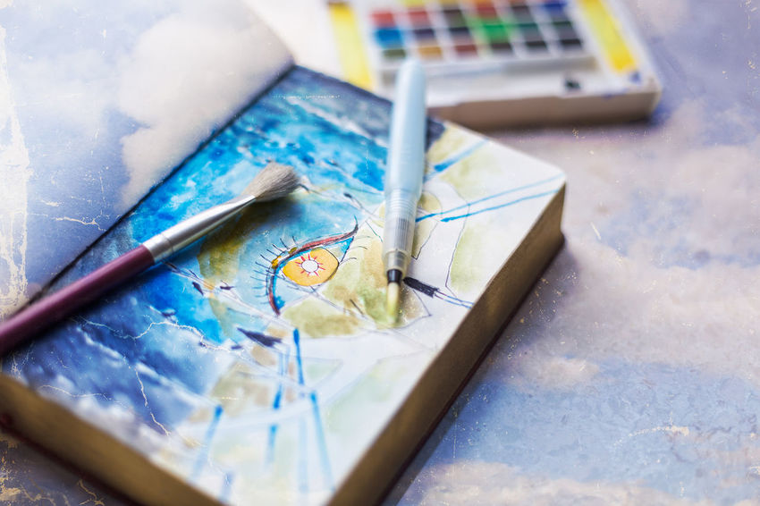 My watercolor sketchbook Art Book Brush Close-up Concept Desk Desks From Above Education Lieblingsteil Lifestyle No People Notebook Paint Painting Paper Sketch Sketchbook Studio Table Watercolor Workplace Workspace