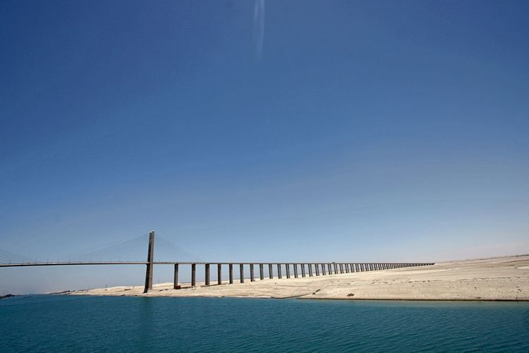 Architecture Beach Blue Bridge - Man Made Structure Built Structure Clear Sky Connection Day Desert Sinai Horizon Over Water Infrastructure Nature No People Outdoors Sand Scenics Sea Sky Suez Canal Bridge Sunlight Tranquility Travel Destinations Water