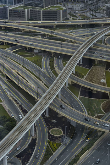 High angle view of highways in city