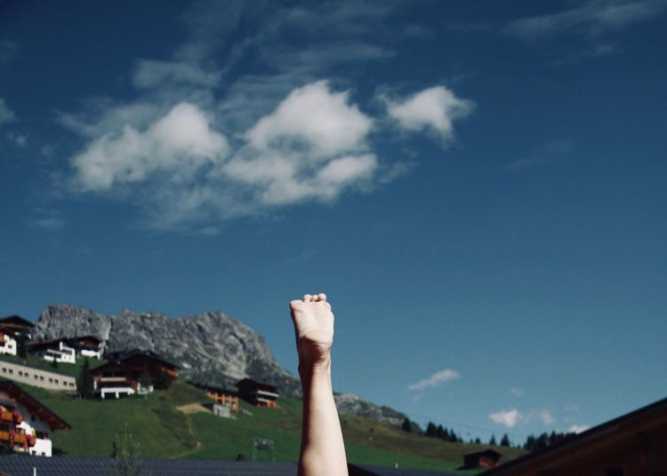 Foot in alpine Landscape Adult People Cloud - Sky Architecture Built Structure Outdoors Real People Sky Day Human Body Part Foot Barefoot Mountain Alpine Alps Landscape Village Panorama Blue Sky Clouds Meadow Instep Backgrounds Copy Space Fun Concept Lifestyle Sole Of Foot