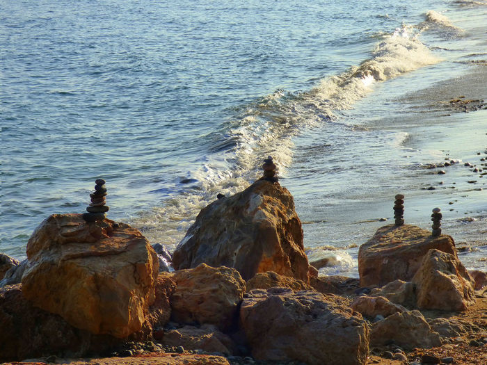 Beach Beauty In Nature Day Meditation Nature Outdoors Philosophy Rock Formation Sea Stone Balance Water Zen