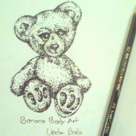 Teddy Bear Tattooflash Pointilsm Dotwork