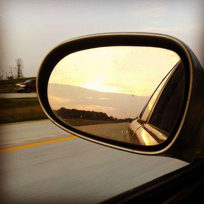 Love it Sunset Beautiful Crusin Car Driving Clouds Sun Sunlight LovinLife Reflection Mirror US10 Evartmichigan Evartmi Northern Michigan Pure Michigan Michigan Thineownlife Blur Blurred Motion