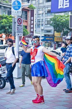 A man cosplayed as Sailormoon in the Taipei LGBTQIA pride, Taiwan. October 28, 2017. Celebration Cosplay Event Taiwan Transgender Bisexuality Festival Gay Homosexual Love Lesbian Lgbt Parade Pride Queer Sailor Moon Sailormoon Taipei