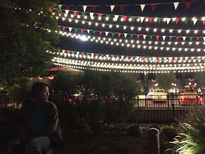 Illuminated Celebration Outdoors Crowd Night Lights Festival Summer Disneyland Alone Happy Charming Energy