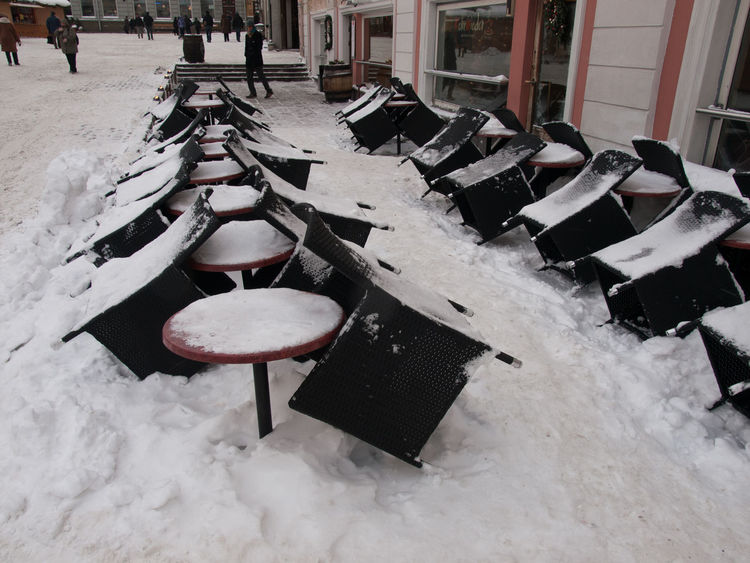 Cafeteria Closed Closed For Business Cold Temperature Day Nature No People Outdoors Snow Snow Covered Tabels Tabels And Chairs Tables And Chairs Covered With Snow Water Winter
