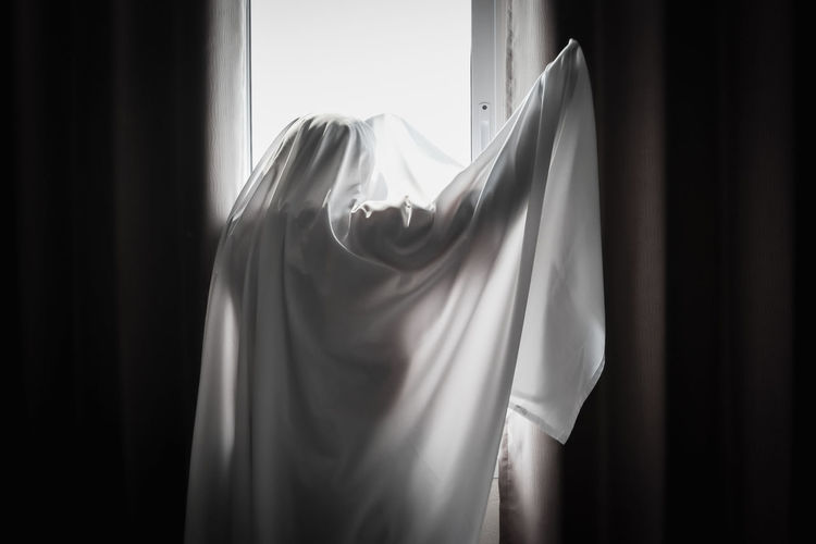Rear view of boy covered with fabric against window at home