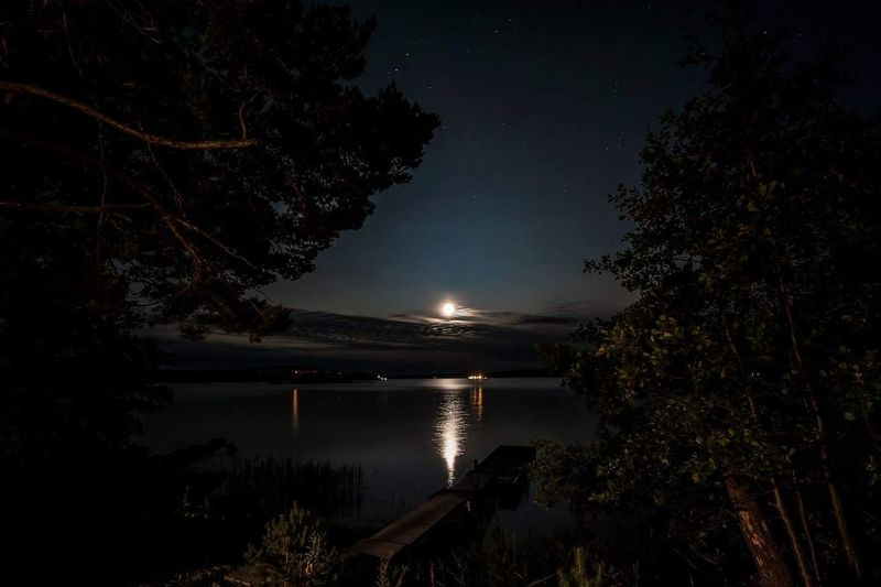 Moon Reflection Night Lake Tree Water Clear Sky Beauty In Nature Sky Nature Outdoors No People The Week On EyeEm Travel Destinations EyeEm Best Shots EyeEmNewHere EyeEm Selects Nightphotography Night Lights Nikon D700 Nature Suomi Finland Moon Baltic Sea Archipelago