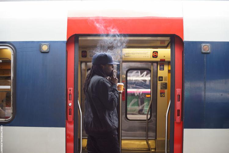 Blue Cap Cigarette  Cloud Morning Morning Break Paris, France  Red RER RerB Smoke Streetphoto Streetphotography Subway