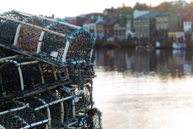 Lobster pots by the sea in whitby