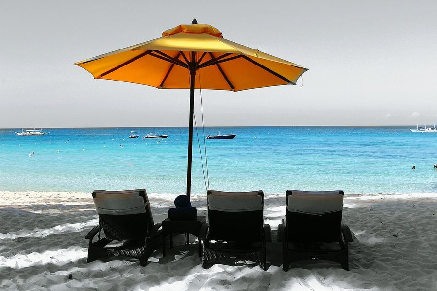 Seascape Beach Photography Beach Selective Color Color Splash Photo Editing Umbrella Beach Chairs Yellow Yellow Umbrella Ocean Blue Ocean View Boats Boracay Philippines No People Black And White B&w The Essence Of Summer Canon Eos Rebel SL1 Miles Away Live For The Story