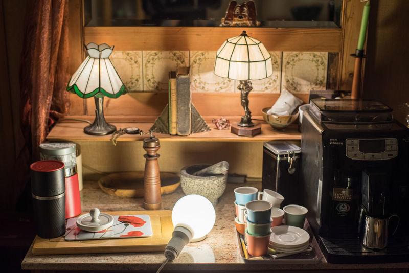 "Object Photography Training: Making of ""Nostalgia"" Books Coffee Machine Mirror Cupboard Illuminated Lamps Lampshades Light Bulb No People Object Object Photography Rose Granite Studio Shot Tiffany Lamp"