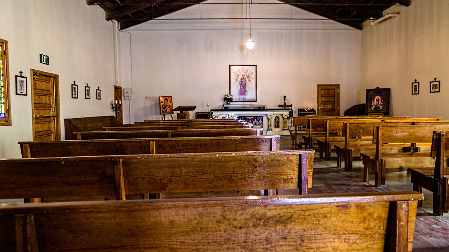 Old Mission Church Indoors  Table Seat Architecture Illuminated Furniture Lighting Equipment Wood - Material Chair Absence Electric Lamp Education Business No People Home Interior Bench Frame Learning Building Domestic Room Luxury Ceiling