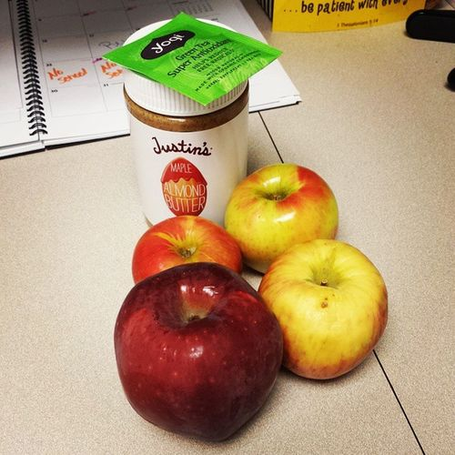Apparently I'm collecting apples. I forget that I have one at work and I bring another, then don't get to eat it, and repeat!! I found one of those in my desk drawer. Oopps! That one is going home to the chickens. Anappleaday JustinsAlmondButter Yogitea Forgetful ChickenFood AfternoonSnackAttack Apples