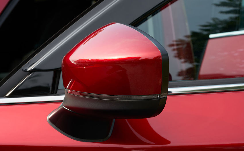 Close-up of red car window