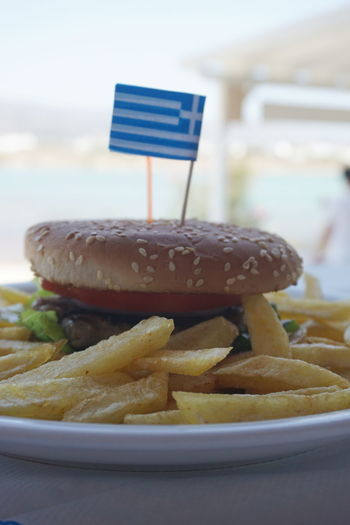 Burger Burger Burger Burgers Close-up Day Focus On Foreground Food Food And Drink Freshness Greece Greek Flag Greek Food Hamburger Indoors  Indulgence No People Plate Ready-to-eat Sweet Food Temptation Unhealthy Eating