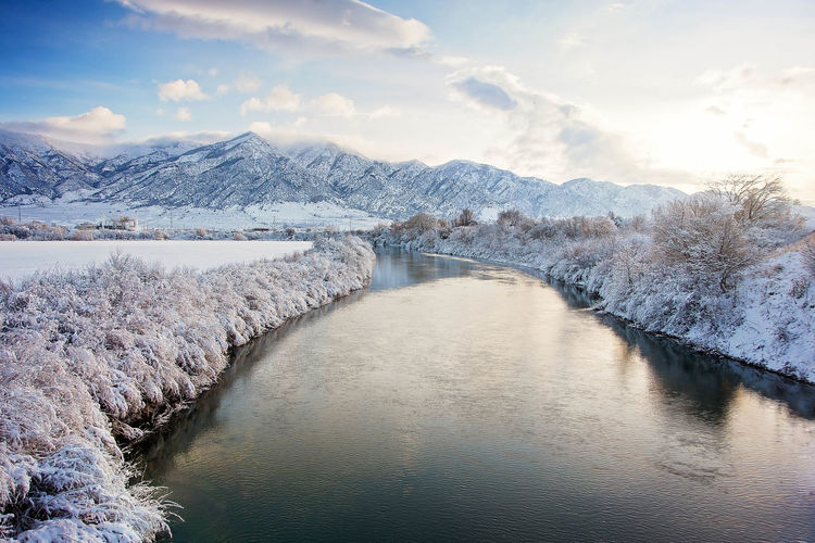 Scenic View Of River Through Frosted Landscape