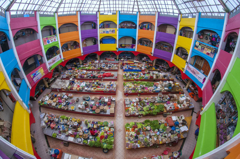 High angle view of colorful building